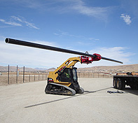 Heavy Duty Pole Setter, the operator can pick up a pole on the ground, or on a trailer, and rotate up to the vertical.